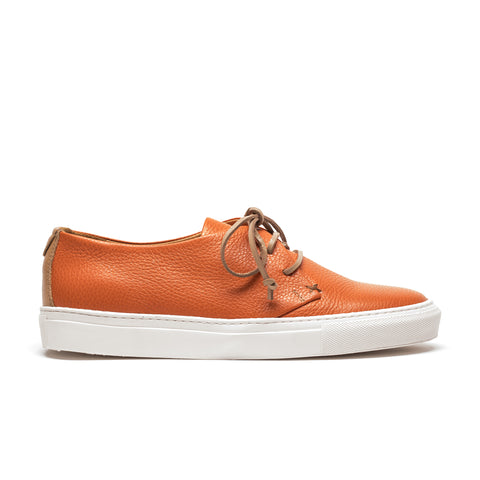 KARL persimmon | Mens Orange Leather Sneaker