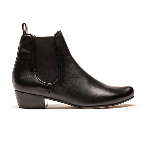 JOANA_Black Leather_Mid Heel Ankle Boot