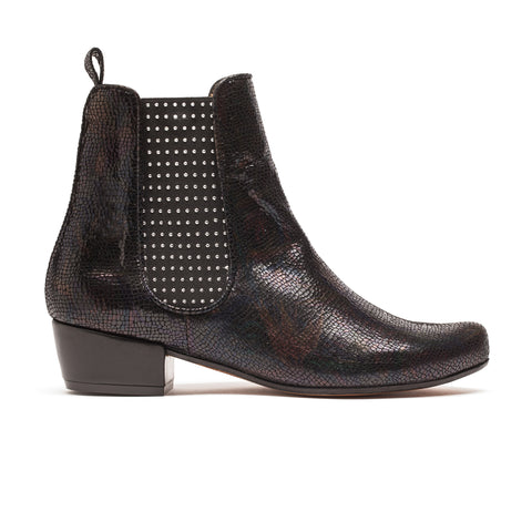 Joana Prism Cowboy Mid Heel Black Leather Patterned Boot