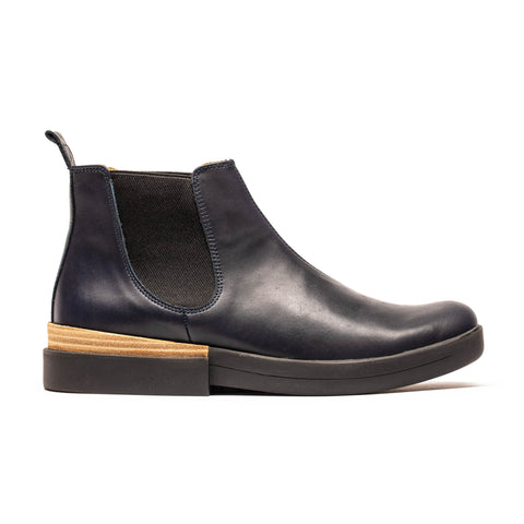 navy women's leather chelsea boot by designer tracey neuls