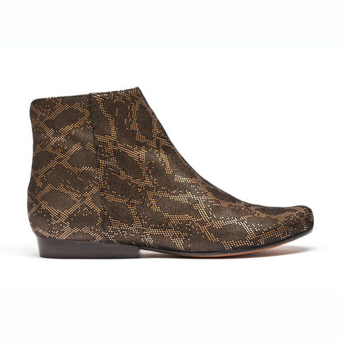 Faux gold snakeskin flat boot