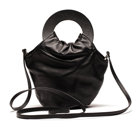 LOOPY Circle Handle Bag in Black Leather | Tracey Neuls