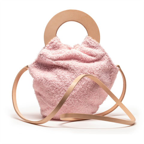 LOOPY BAG Pink Towel Leather Handles Handbag | Tracey Neuls