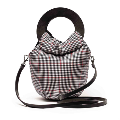 LOOPY Tartan | Check Textile and Black Leather Handbag | Tracey Neuls