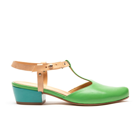 green leather sandal with t-bar straps designed by Tracey Neuls