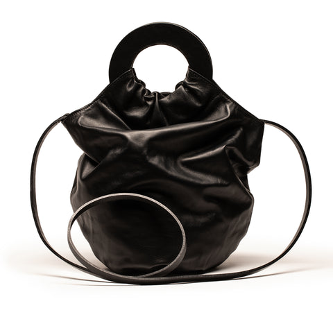 BIG SISTER LOOPY BAG_Black Leather_Shoulder Strap