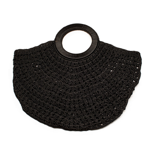 CROCHET CRESCENT BAG_black