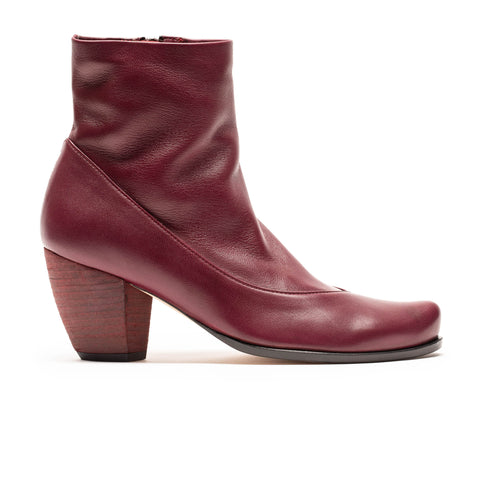 MANUELA Malbec | Deep Red Leather Ankle Boot