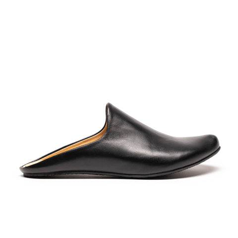 Black Leather Mules | Flat Slip-Ons by Tracey Neuls