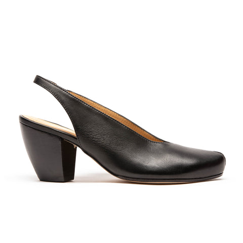nikito black open top, open toe high heel by designer tracey neuls
