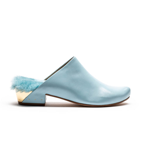 blue leather mule with shearling lining by designer tracey neuls