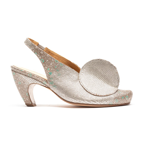 OPENTOP Silver Leather High Heel | Tracey Neuls