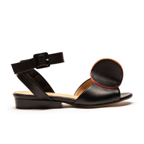 BIJOU Black and Neon | Leather Strap Sandals | Tracey Neuls