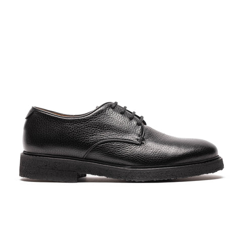 Womens black grained leather derby shoe perfect for walking and everyday use by designer Tracey Neuls