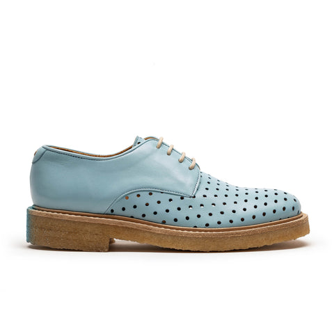 women's light blue perforated derby shoe with crepe sole, perfect for summer by designer tracey neuls