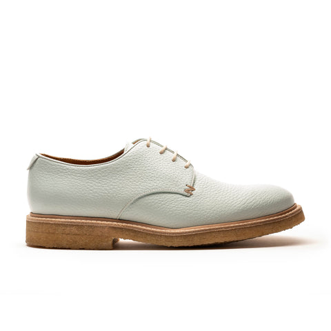 a mens pastel light blue derby shoe with a natural crepe sole by designer Tracey Neuls