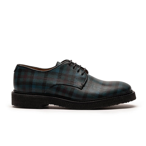 PABLO Blue Tartan | Womens Printed Leather Derby | Tracey Neuls