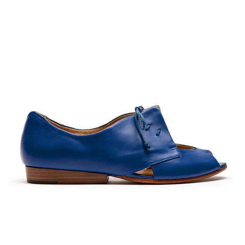 women's royal blue leather peep toe shoe with triangle detailing by designer tracey neuls
