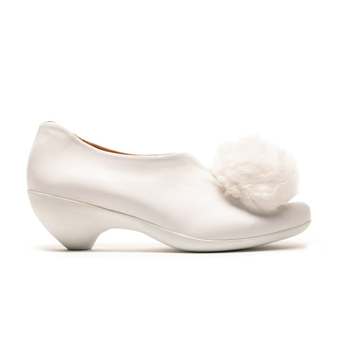 White Puffball Pom Pom Mid Heel Luxury Leather Shoe Tracey Neuls