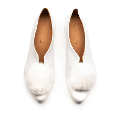 PUFF BALL_White Fur Pom Pom_Mid Heel