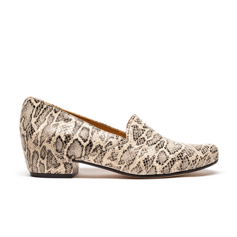 RAY Alligator Print Leather Mid-Heel Loafer by Tracey Neuls