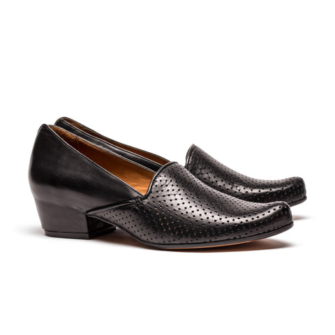 RAY Black Leather Mid-Heel Loafer | Tracey Neuls