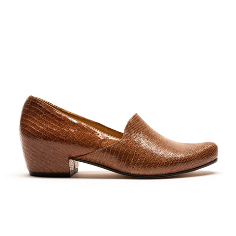 Faux snakeskin mid heel loafer for women by designer tracey neuls