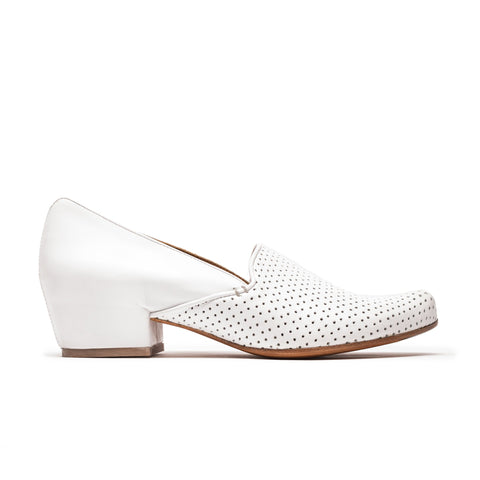RAY White Perforated Leather Mid Heel Loafer | Tracey Neuls