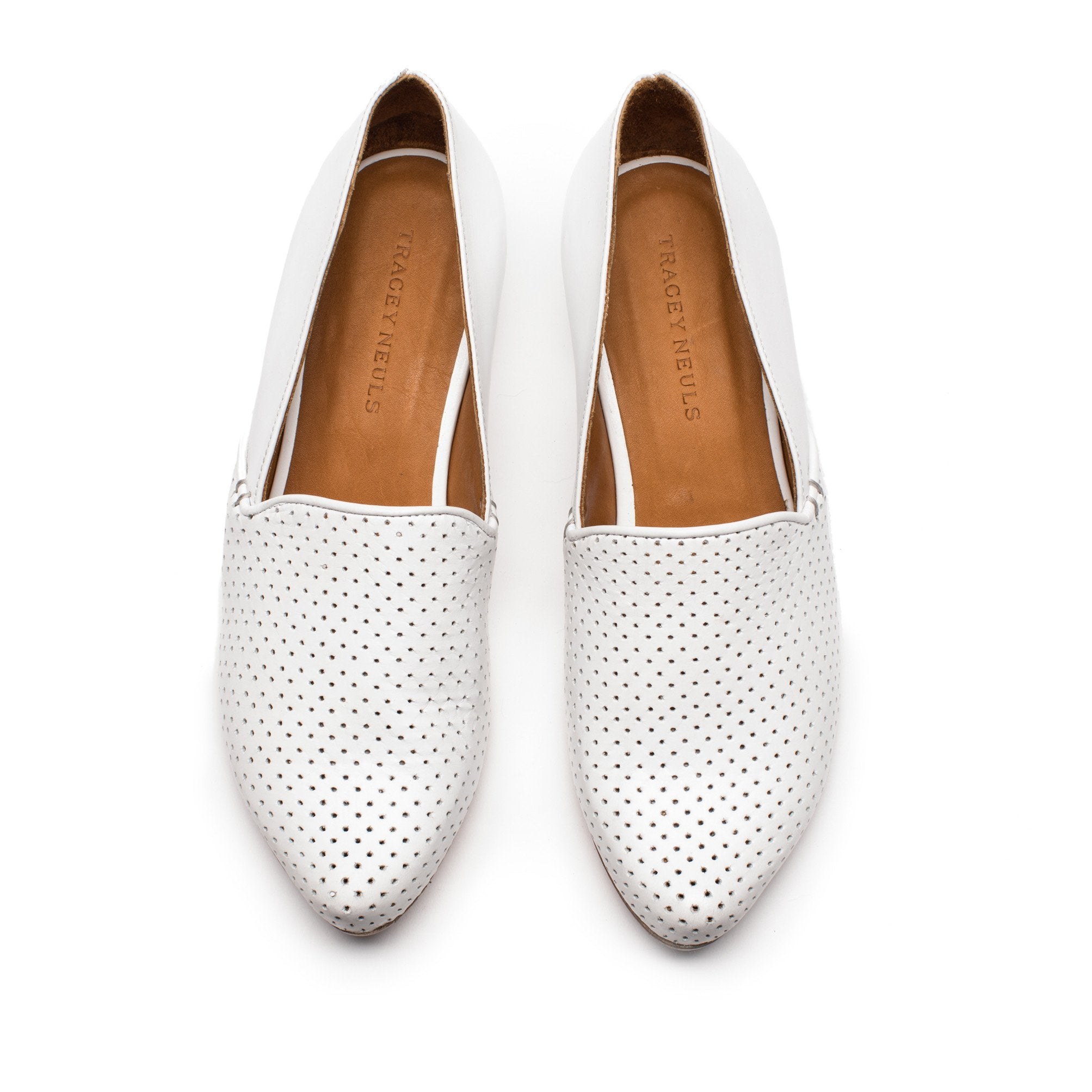 012caf81c32 ... RAY White Perforated Leather Mid Heel Loafer
