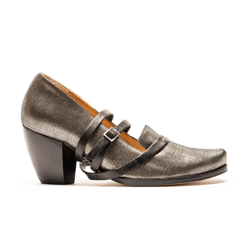 SARAH Champagne | Silver Leather High Heel | Tracey Neuls