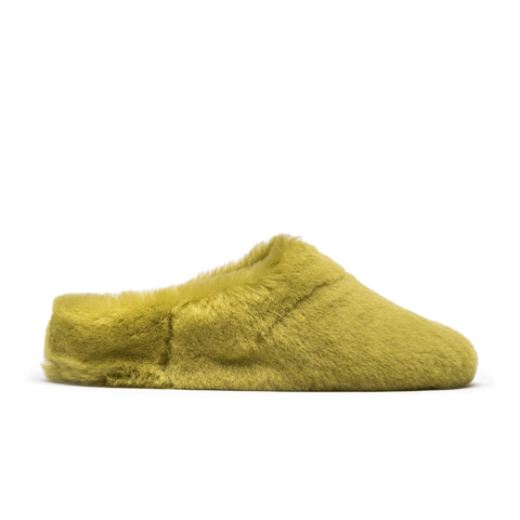 Green shearling slippers
