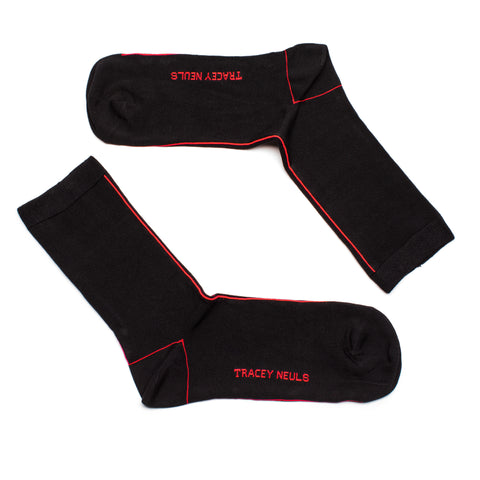 SOCKS black with red neon