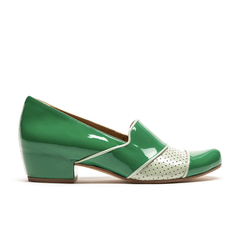 SONG_Mixed Green_Mid Heel Loafer