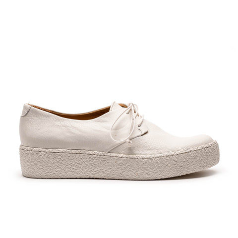white leather platform sneaker designed by tracey neuls