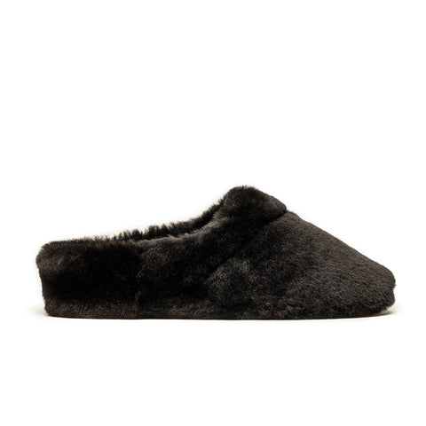 Black shearling slippers designed by Tracey Neuls
