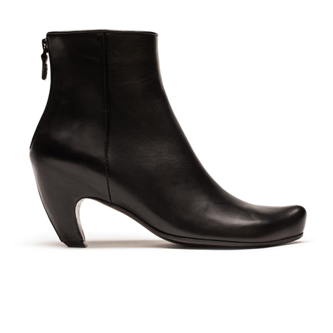 Black leather high heel ankle boot