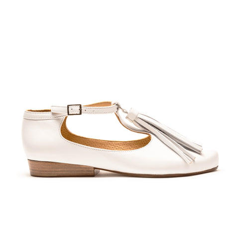 TASSEL White Leather Sole T-Bar Flat | Tracey Neuls