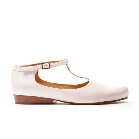 white leather t bar shoe by designer tracey neuls