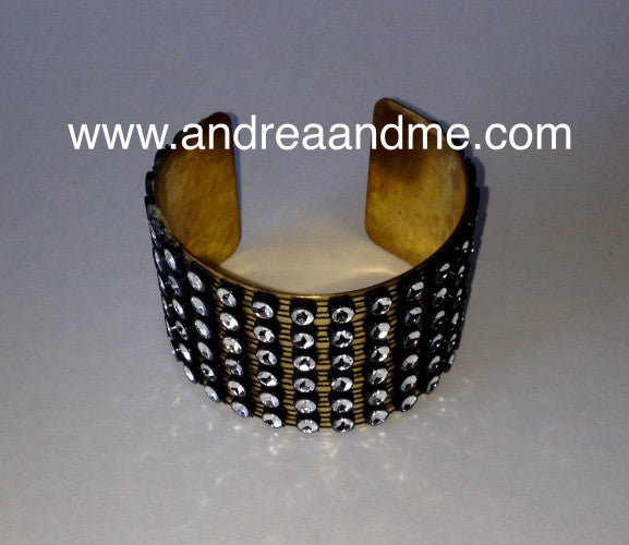 Beautiful large cuff bracelet with faux bling at www.andreaandme.com