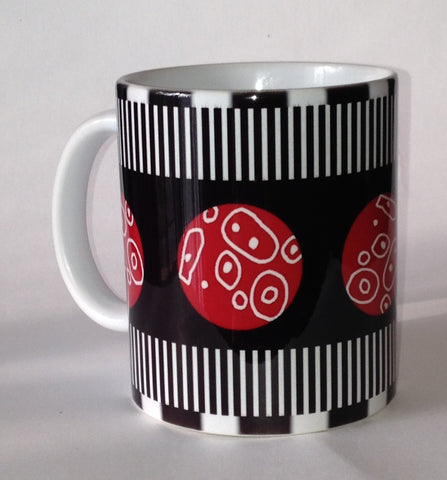 Black and white with red balls mug from www.andreaandme.com