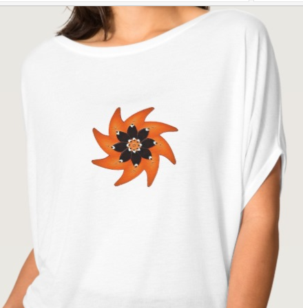 White Dolman Sleeve T-Shirt with Orange and Brown Swirl Design