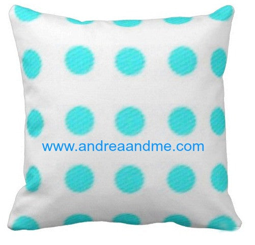 Blue and White Dots Pillow www.andreaandme.com