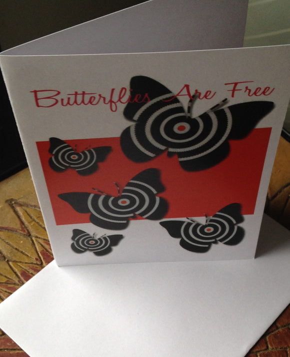 Butterfly Card Red and Black Bull's Eye