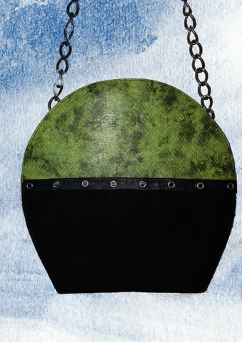 Black and green suede round handbag from www.andreaandme.com