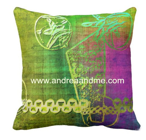 Throw Pillow Green Rainbow Design www.andreaandme.com