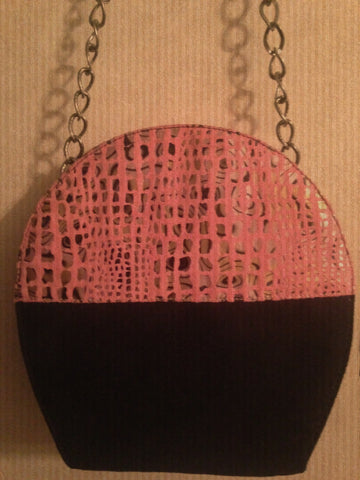 Pink and Black Suede Handbag on Chain www.andreaandme.com