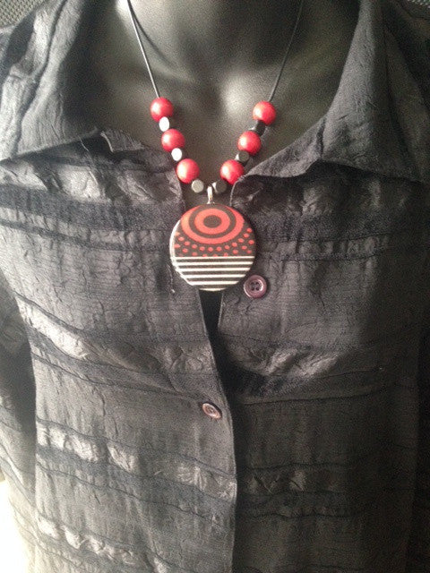 Handmade Necklace Red and Black Beads