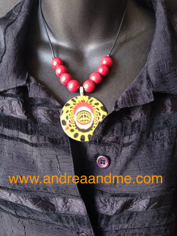 Red and yellow handmade necklace from Chicago designer at www.andreaandme.com