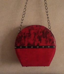 Red and black suede handbag with faux snakeskin www.andreaandme.com