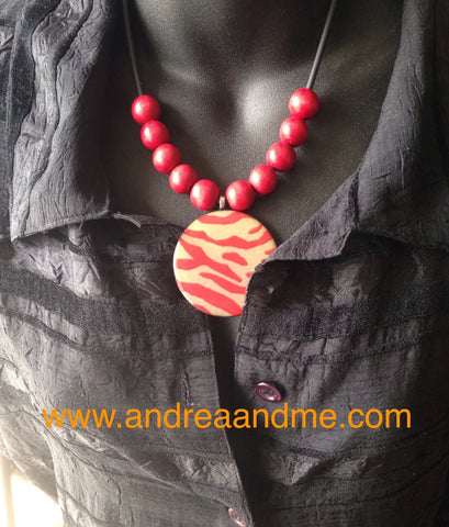 Handmade Red Zebra Stripe Beaded Necklace